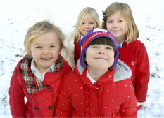Happy Children Playing in the snow at Tibberton School
